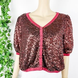Rust Sequin Cardigan